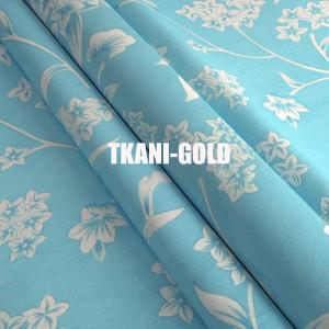 Ткань Тик Белые цветки на голубом