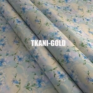 Ткань Тик Цветы голубые с белым